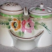 Vintage Hand Painted Condiment Set Salt Dip, Sugar Shaker, Mustard Pot