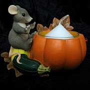 SOLD Charming Tails &quot;Pumpkin/Squash Votive&quot; 93/101 - Fitz and Floyd Votive Figurine 
