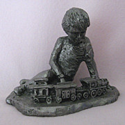 """PAUL WITH TRAIN"" 1978 Michael Ricker Pewter Collector's Piece - Limited Edition"