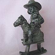"""BONNIE"" 1982 Limited Edition pewter piece, Girl on Rocking Horse by Ricker"