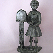 """BIG JUDY"", 1984 Collector's Pewter Piece, Girl by Mailbox by Michael Ricker"