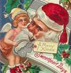 "Santa ""Sweetheart Days"" with Cupid Christmas 1909 Postcard"