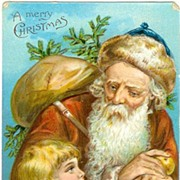 Santa in Brown Suit with Charming Little Girl 1909 Christmas Postcard