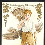 Early Thanksgiving Postcard -- Boy Carrying a Dead Turkey with Ax
