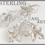 Carl Art Sterling Leaves Rhinestones Demi Parure