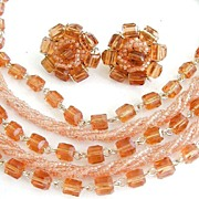 Deep Peach Glass Beaded Demi Parure