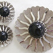 Sarah Coventry Black Beauty Silvertone & Black Demi Parure