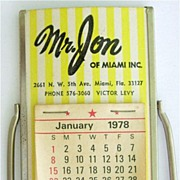 Advertising Calendar Mirror Mr. Jon of Miami 1978