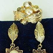 Damoscene Earrings & Ring Set Demi Parure