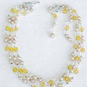 3 Strand Glowing Beads Necklace Crystals Faux Pearls