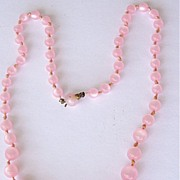 Pink Moonglow Graduated Beads Necklace
