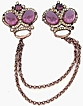 Fabulous Crowns Chatelaine Double Brooch Amethyst Glass