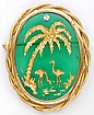 Palm Trees Flamingos Green Glass Brooch
