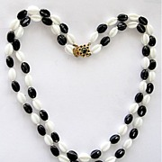 Dramatic Black & White 2 Strand Glass Beads Necklace