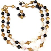 Dramatic Black Goldtone and Crystals Necklace