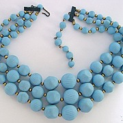 SALE PENDING Chunky 3 Strand Blue Beads Necklace