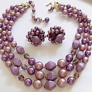 Lilac Pink Purple Glass Beads Demi Parure