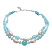 West Germany Aqua Blue Crystal Faux Pearl Double Strand Necklace