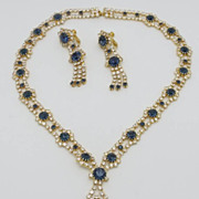 SALE Hobe Blue Rhinestone Demi Parure Necklace Earrings