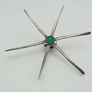 SALE Ed Levin Sterling Modernist Design Chrysoprase Starburst Pin