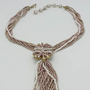 SALE Miriam Haskell 8 Strand Seed Bead Necklace