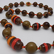 SALE Miriam Haskell Brown Red & Orange Bead 28 1/2&quot; Necklace