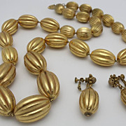 SALE Miriam Haskell Demi Parure Ribbed Goldtone Beads