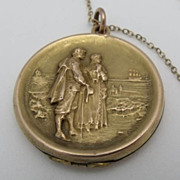 SALE Outstanding Figural Repousse Vintage Locket Necklace