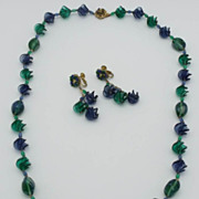SALE Miriam Haskell Emerald & Cobalt Ruffled Glass Necklace Matching Earrings