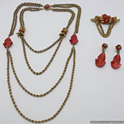 SALE Miriam Haskell Parure Multi Strand Necklace Brooch & Earrings