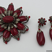 SALE Miriam Haskell Red Glass Demi Parure Brooch Earrings Early 60's