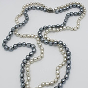 "SALE Miriam Haskell 36"" Double Strand Simulated Baroque Pearl Necklace"