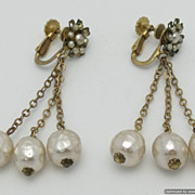 SALE Miriam Haskell 60's Baroque Simulated Pearl Triple Dangle Earrings