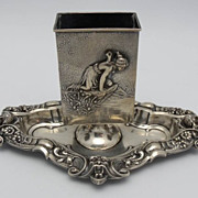 Kerr Sterling Repousse Figural Match Safe with Sterling Base