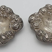 Kerr Sterling Repousse Pair of Nut Dishes