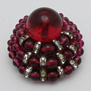 French Red Glass Dome Brooch Made In France Rhinestone Rondelles