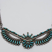 Zuni Odelle Seowtewa Petit Point Turquoise Sterling Necklace