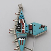 "Zuni Sterling Inlay Reversible 4 1/2"" Pendant Incredible Design"