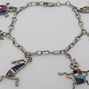 Adorable Sterling Inlay Rock Kritters Charm Bracelet Southwestern