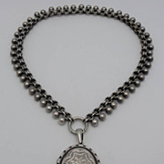 Antique Victorian Sterling Locket Necklace J Walker Birmingham