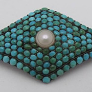 Stunning Victorian Silver Pave Persian Turquoise Pearl Pin
