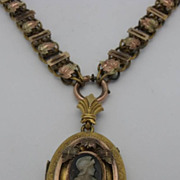 Victorian Bookchain Cameo Locket Necklace ca. 1880's