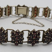 Vintage Bohemian Garnet 900 Vermeil Silver Bracelet