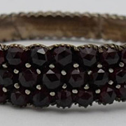 Victorian Triple Row Bohemian Garnet Bangle Bracelet