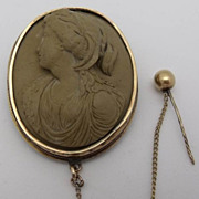 14K Gold Antique Lava High Relief Cameo Brooch ca. 1860's