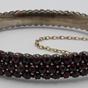 SOLD Vintage Triple Row Rose Cut Garnet Bangle Bracelet