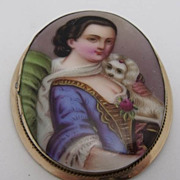 Victorian Hand Painted Lady Portrait w/ Dog on Porcelain Brooch
