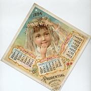 1894 Lithograph Prudential Calendar Page Child Bride