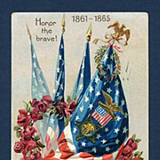 Embossed Patriotic Decoration Day Tuck Postcard 4 Flags