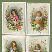 4 Victorian Christmas Cards Sweet Kids Cat Dog & Doves